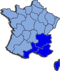 kaart zuid Oost Frankrijk
